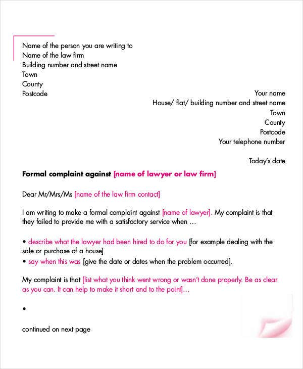 Complaint Letter Templates 5 Free Sample Example Format Download