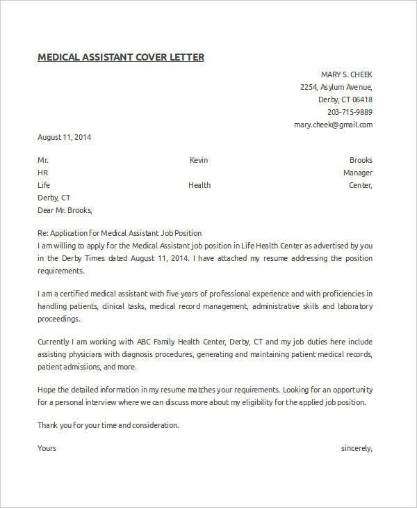 medical cover letter letter template 9 free sample example format 23603 | Medical Assistant Cover Letter Template