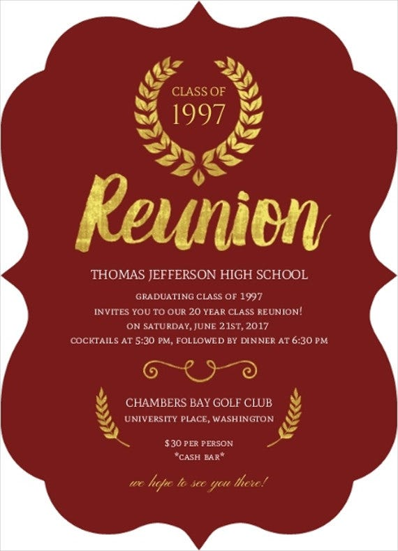 12  reunion invitation templates