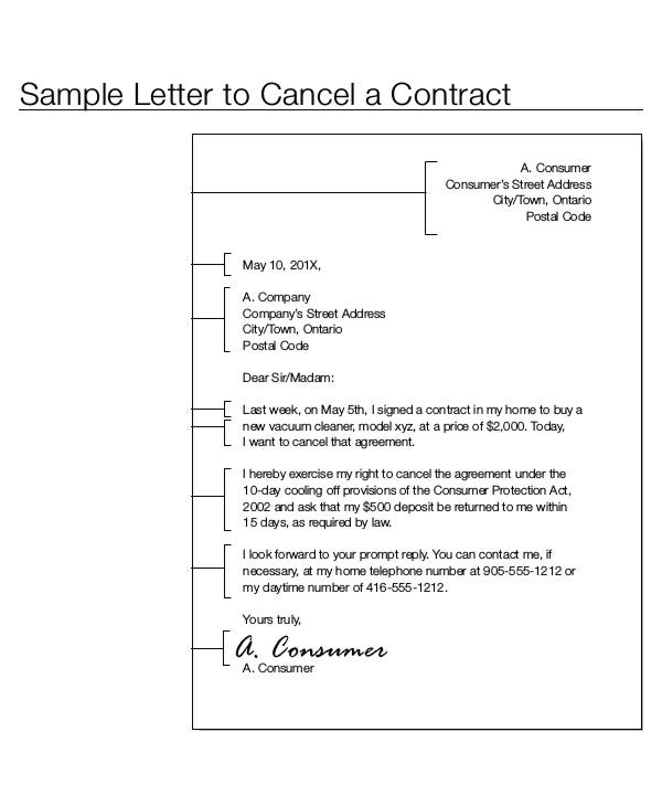 Contract letter template 9 free sample example format download contract termination letter template spiritdancerdesigns Choice Image