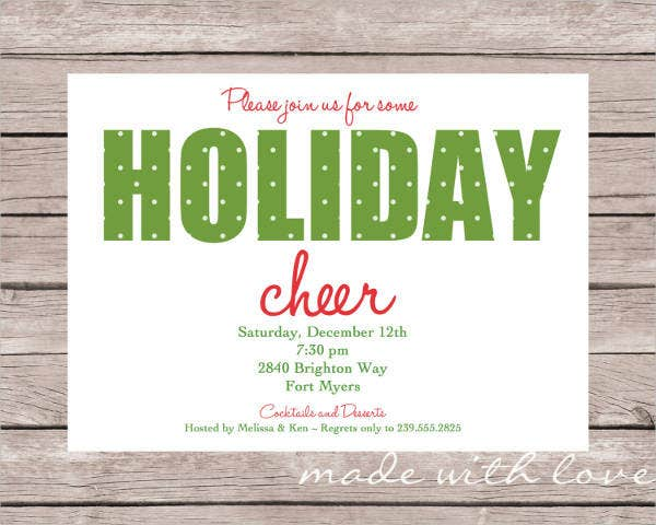 Holiday Party Invitation   Design Template Sample Example