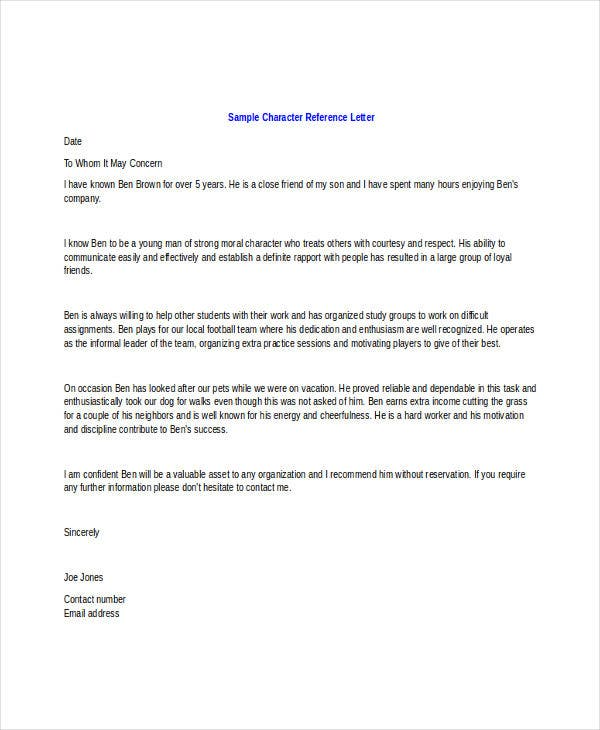 Character Letter Templates 7 Free Sample Example Format Download