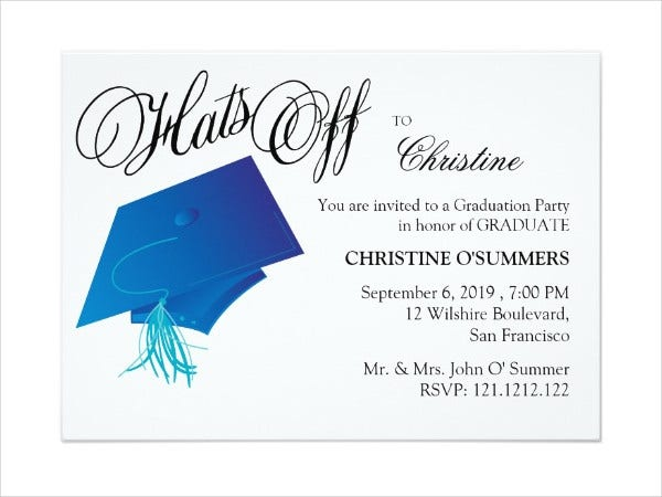Graduation Party Invitations 8 Design Template Sample – Graduation Dinner Invitations