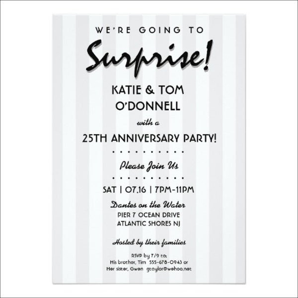 8 Anniversary Party Invitation 8 Design Template Sample – 25th Anniversary Party Invitations