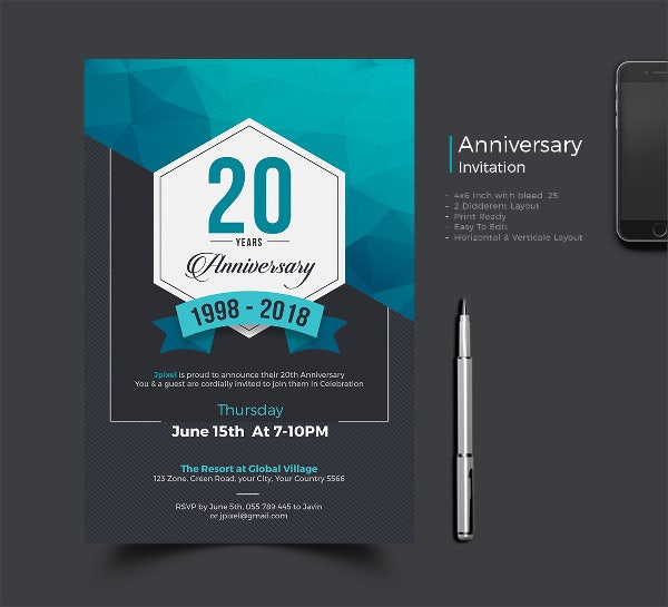 8+ Anniversary Party Invitation - 8+ Design, Template ...