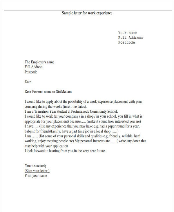 6 work letter templates 6 free sample example format download