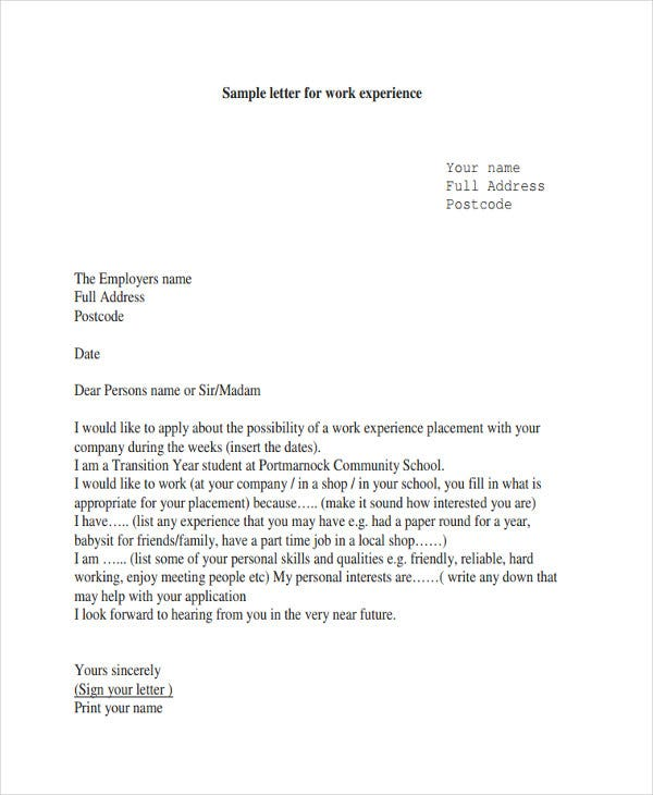 work experience letter template from employer