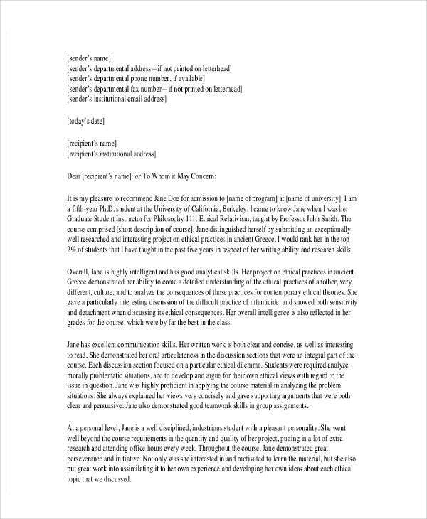 school recommendation letter template