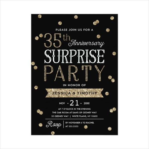 Surprise Anniversary Party Invitation Template