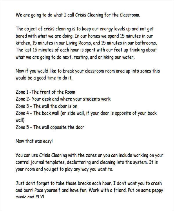 6  school cleaning schedule templates