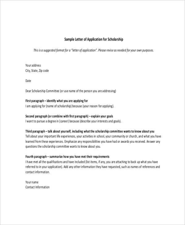 application for scholarship letter template