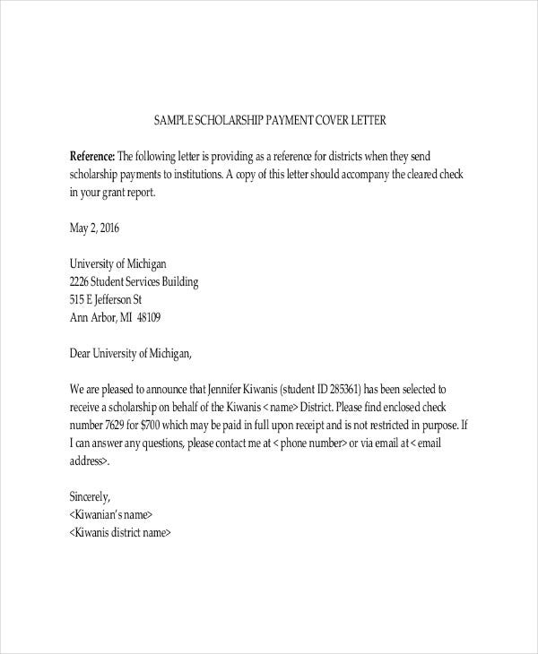 scholarship cover letter template