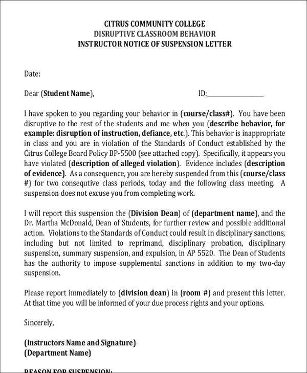 Student Suspension Letter Template