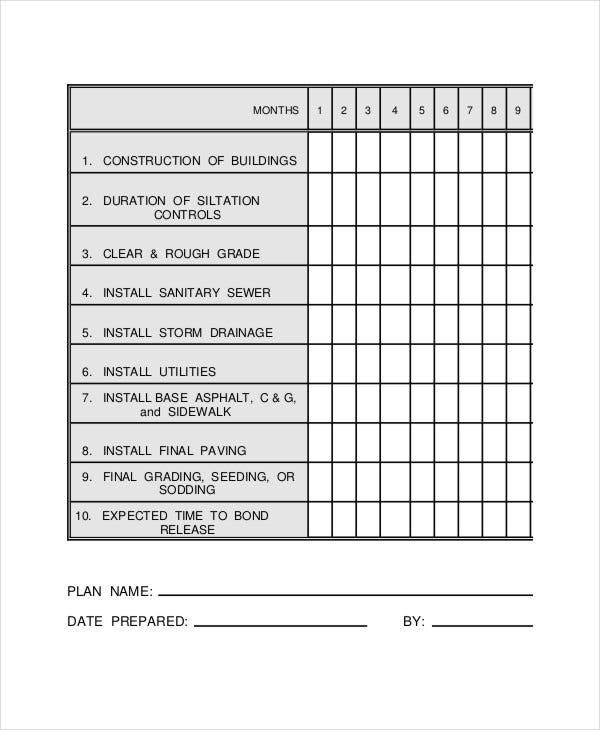 Construction Work Schedule Templates   Free Word Pdf Documents
