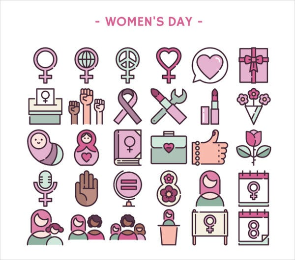 womens day icons vector