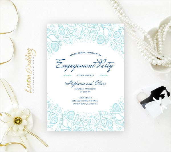 Beach Engagement Party Invitation