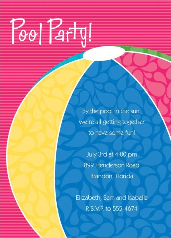 Beach Ball Pool Party Invitation
