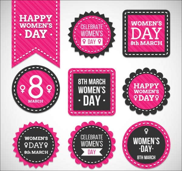 womens-day-badges-vector