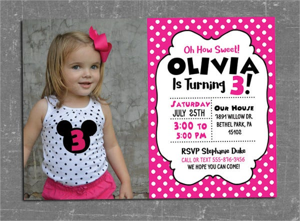 minnie mouse photo invitation template