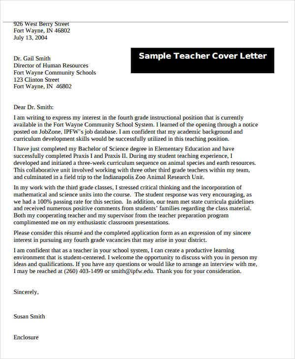 Teacher Letter Templates   Free Sample Example Format
