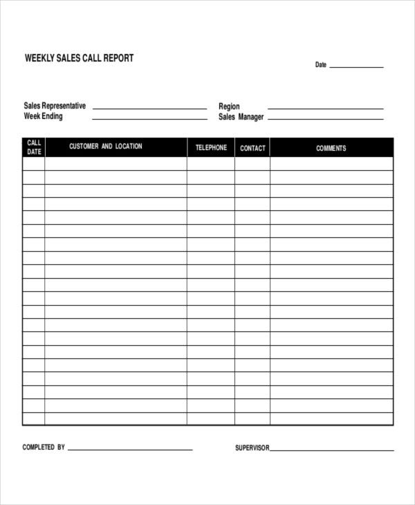 5 daily call report templates 6 free word pdf format download sales call reports