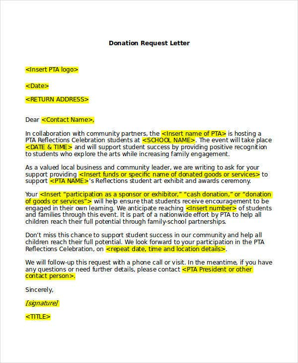 Request Letters Pdf Letter Requesting Donations For School Word