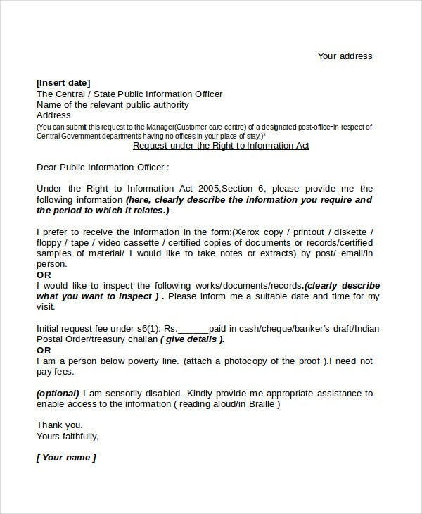 formal request letter template