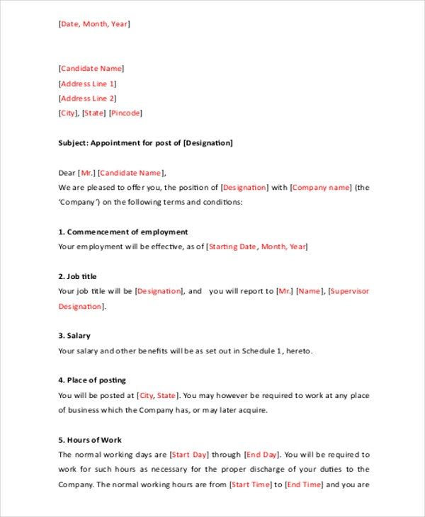 job appointment letter template