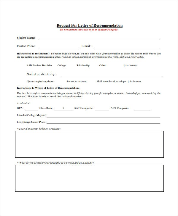 request letter of recommendation template