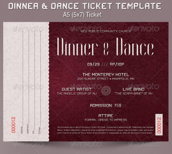 Wonderful Dinner And Dance Ticket Template Inside Dinner Tickets Template