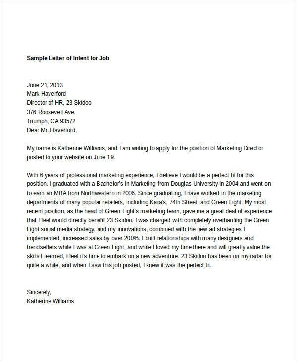 Captivating Job Intent Letter Template Idea Intent Letter Format