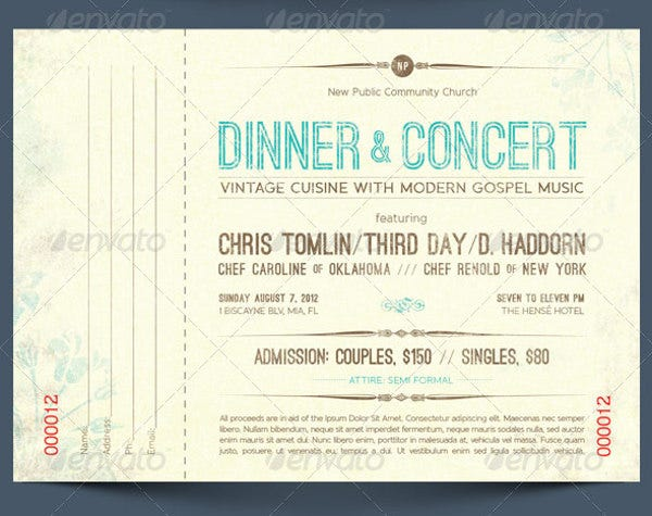 Dinner Ticket Template  Dinner Tickets Template