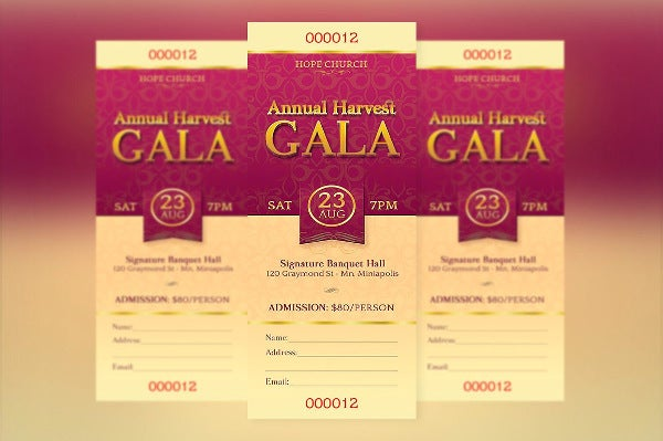 charity dinner ticket template