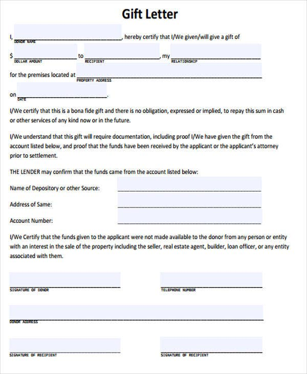 Gift Letter Templates   Free Word Pdf Format Download  Free