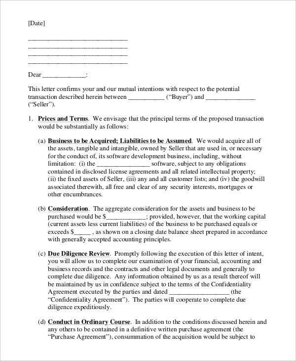 business intent letter template