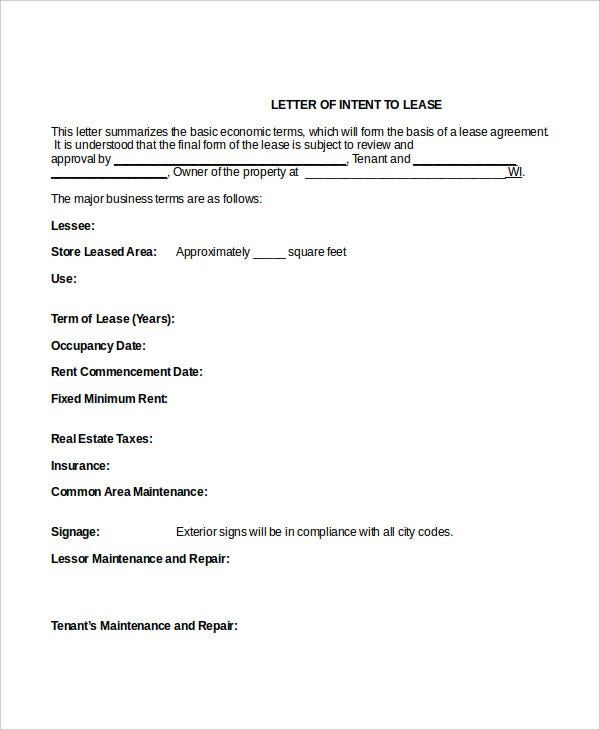intent to lease letter template