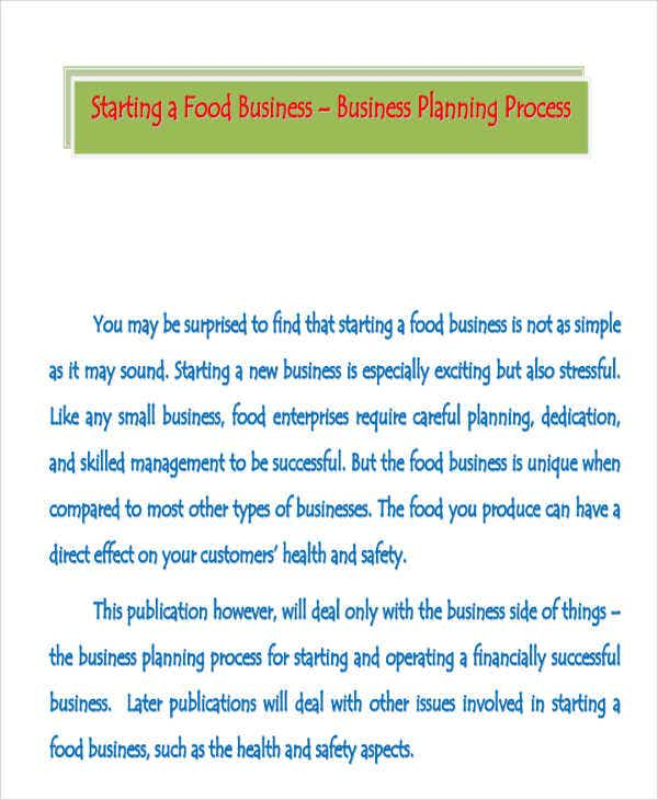 food manufacturing business plan template