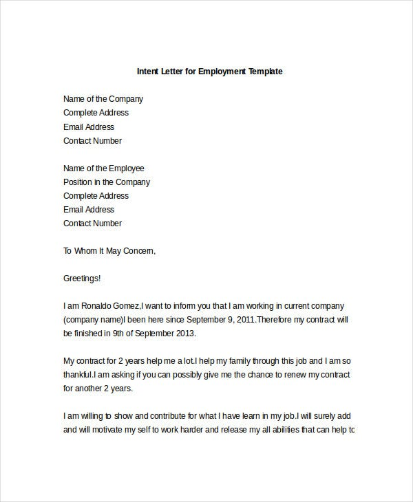 Intent Letter For Employment Template