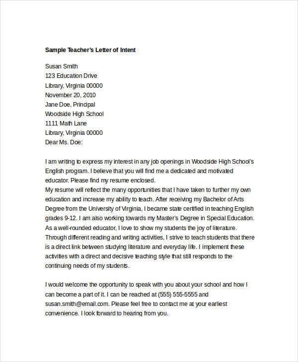 intent letter for teacher template