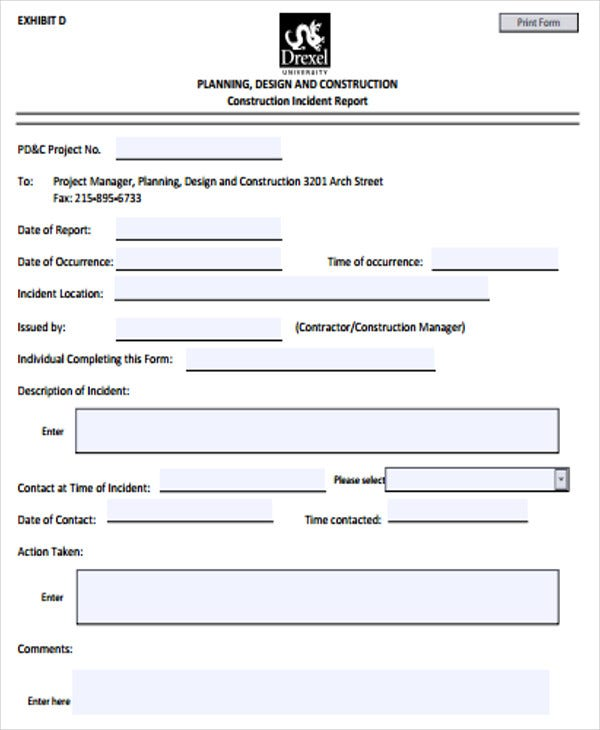Construction Incident Report Format  Construction Site Report Template