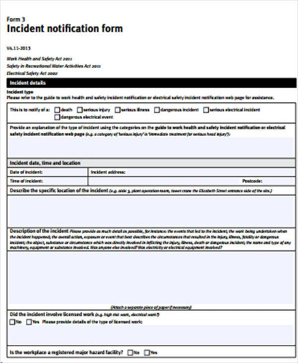 Construction Safety Incident Report Form