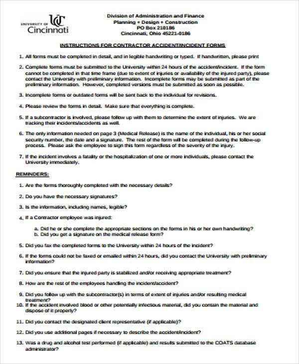 Construction Accident Incident Report Template