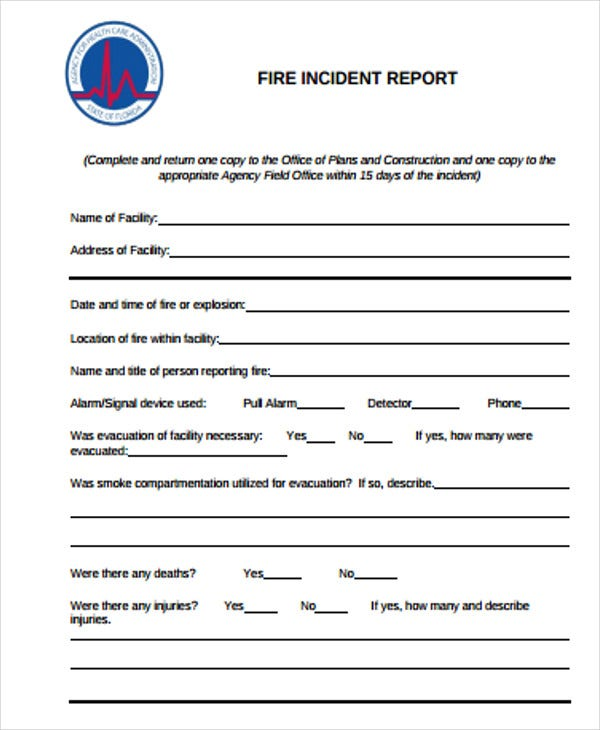 Construction Incident Report Templates 8 Free Word PDF Format – Sample Incident Report Form