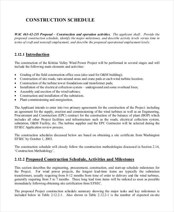 Construction Site Work Schedule Template