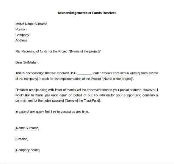 acknowledgement letter of funds received word format download