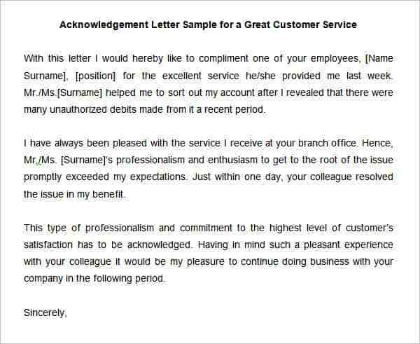 38 acknowledgement letter templates pdf doc free for Customer service message template