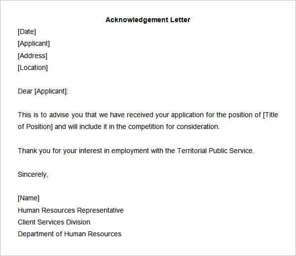 Acknowledgement Letter Templates  Free Samples Examples