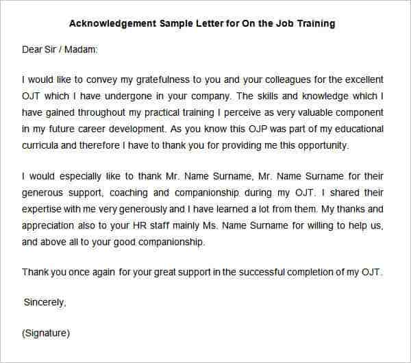 33 acknowledgement letter templates free samples examples acknowledgement sample letter for on the job training yadclub Image collections