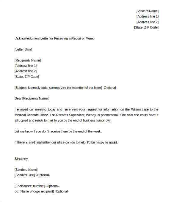 acknowledgment letter for receiving a report free download