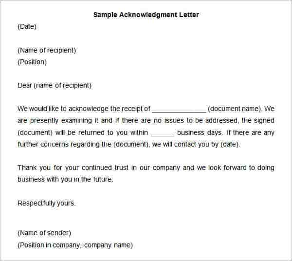 31 Acknowledgement Letter Templates Free Samples Examples – Acknowledgement Receipt Sample